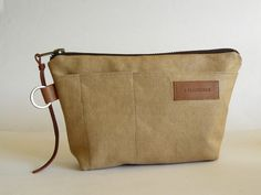 Handmade waxed canvas zip pouch with key ring // pencil case // organizer