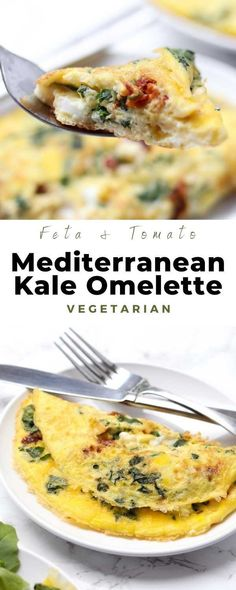 Kale Omelette with Sun-Dried Tomatoes & Feta Cheese is a fluffy two egg Mediterranean omelette perfect for brunch! #kaleomelette #mediterraneanomelette #breakfast #omelette #vegetarian #healthy #mediterranean