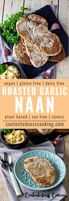 This Easy Roasted Garlic Naan (vegan) is an easy homemade bread that is an amazing addition to BBQs, salads, sandwiches, stews, or soups.