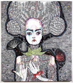 "Brilliant work by Australian artist Del Kathryn Barton, ""Satellite Fade-Out [Acrylic, gouache, watercolour and ink on Polyester canvas, 163 × Del Kathryn Barton, Yellena James, Magazine Art, Magazine Covers, Gustav Klimt, Australian Artists, Whimsical Art, Mail Art, Vincent Van Gogh"
