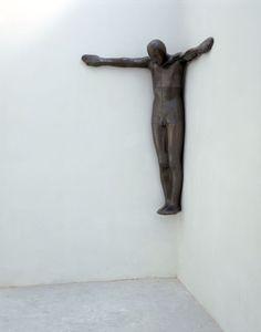 "Antony Gormley [UK] (b 1950) ~ ""A CORNER FOR KASIMIR"", 1996. Lead, fibreglass, air (193 x 160 x 80 cm). | #art #sculpture #figurative"