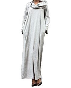 ZANZEA Women Plain Turtleneck Boat Neck Long Sleeve Party Kaftan Long Maxi Dress Light Grey Large. Size Details: Please note that our tag size is Asian size, and we recommend you to check the size chart image carefully to choose the fit size before ordering. US Size: US 4/ASIAN S, US 6-8/ASIAN M, US 10-12/ASIAN L, US 14/ASIAN XL, US 16/ASIAN 2XL,US 18/ASIAN 3XL. Excellent stretch fabric allows comfortable fit. Perfect for every occasion from work to parties./Simple And Classical Style,make…
