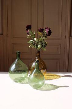French Antique Olive Green Demi-John Dame-Jeanne Carboy Wine Bottle