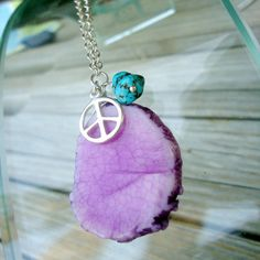 Peace Sign Necklace Purple Agate Jewelry by jewelrybycarmal, $28.00