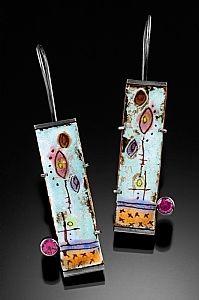 inspiration 4 paper metal and epoxy still add stone on side Very cool enamel work Uplifted -- Moving On Series by anne havel ~ x Funky Jewelry, Metal Jewelry, Jewelry Crafts, Jewelry Art, Jewelry Design, Jewlery, Jewellery Earrings, Leather Earrings, Earrings Handmade