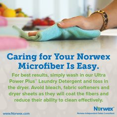 Caring for your Norwex Microfiber. For Facebook parties, online events and marketing.