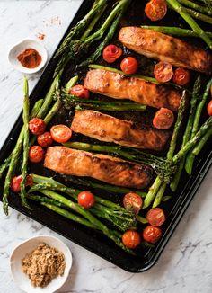 One Tray Spicy Brown Sugar Salmon & Vegetables – RecipeTin Eats Quick Salmon Recipes, Fish Recipes, Vegetable Recipes, Seafood Recipes, Healthy Dinner Recipes, Meal Recipes, Healthy Dinners, Easy Dinners, Salmon
