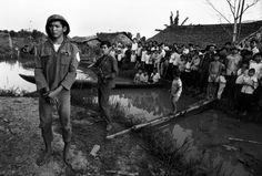 VIETNAM. Southern Delta region. 1973. A South Vietnamese Army soldier, taken prisoner by the VIETCONG (pro-Communist guerrilas), is exhibited in a village A. Abbas.