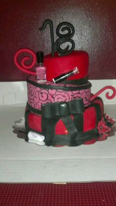 Pretty Pink Black 18th Birthday Cake Birthday Cakes Pinterest