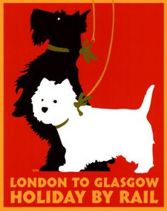 Holiday by Rail poster-a westie and a Scottie - great.