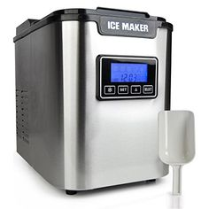 Upgraded Digital Ice Maker Machine - Portable Stainless Steel, Stain Resistant Countertop w/Built-In Freezer, Over-Sized Ice Bucket Ice Machine w/Easy-Touch Buttons, Silver - NutriChef Stainless Steel Countertops, Outdoor Kitchen Design, Outdoor Kitchens, Outdoor Cooking, Kitchen Tops, Kitchen Dining, Making Machine, Ebay, Digital