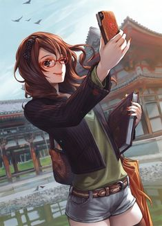 Hey, time to take a selfi.but lets get real, i love the art of the background and the deatails of the face and coat. Someday I'll be there with my drawing