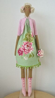 Pretty pink and green floral Tilda doll
