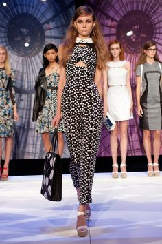 Charlotte Ronson Spring 2014 RTW. I don't normally (EVER) like jumpsuits but...she looks adorable.