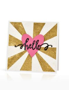 (Jennifer McGuire) Apply adhesive sheet to cardstock, cut backing paper into rays, peel off every other slice, apply glitter.