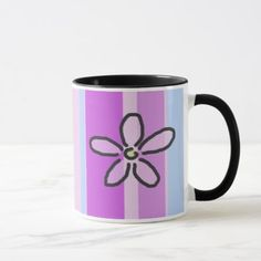 Flower and Purple Blue Stripes Mug - tap, personalize, buy right now!