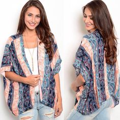 This lightweight kimono features short sleeves, open front and multicolored pattern all over. - Spring Summer Fall Winter Fashion www.psiloveyoumoreboutique.com