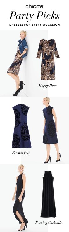 Make an entrance in the perfect dress at any kind of holiday party this season. Happy hour on a casual Friday after work? A midi paisley dress plus a jean jacket is chic and effortless. Dress rehearsal for a winter wedding? A navy mock neck dress with a pop of pattern and pearl studs is formal but still fun. Invite calls for cocktail attire? A black maxi dress punctuated by grommets is modern and sleek with the perfect peek-a-boo slit at the hem. You can RSVP 'yes' now. Shop the Collection