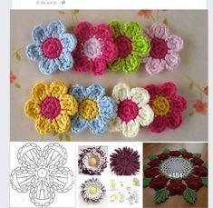 Best 12 Crochet – Flower Lotus Free Patterns – SkillOfKing.Com Crochet Applique Patterns Free, Crochet Flower Patterns, Crochet Diagram, Crochet Motif, Diy Crochet, Crochet Flowers, Crochet Stitches, Knitting Patterns, Crochet Stars