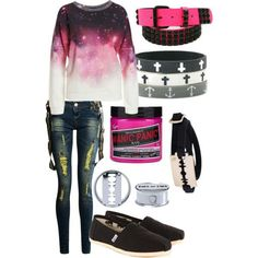 A cute girly yet dark outfit. The only things I would change are the shoes, maybe some converse or vans instead would work better