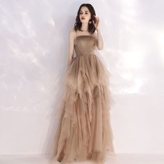 Champagne-colored prom dress banquet evening dress strapless birthday party dress long evening dress tulle party dress sold by dreamdress. Shop more products from dreamdress on Storenvy, the home of independent small businesses all over the world. Best Evening Dresses, Cheap Evening Gowns, Evening Dress Long, Evening Gowns Online, Glamorous Evening Dresses, A Line Prom Dresses, Formal Dresses, Summer Evening, Champagne Colored Prom Dresses