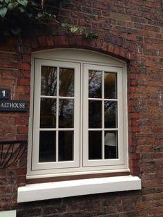 Residence 9 Clotted Cream installation by Central Windows Ltd Barn Windows, Cottage Windows, Green Windows, Dormer Windows, Casement Windows, House Windows, Windows And Doors, Cottage Design, Cottage Style