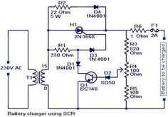 #BatteryChargerCircuit using #SCR | #Electronicscircuit | #Electricalcircuit | #Engineeringcircuit.
