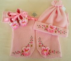 Boutique Hand Embroidered Pink Pansy Set by BumbleBeeDesigns, $90.00