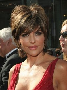 The main feature of Lisa Rinna's short hair is the staggered, choppy layers that create a soft shaggy shape around the face. Hair is snipped on an angle, progressively growing longer on the sides and back. Light, feathery layers make building volume at the roost a breeze. http://www.haircutshairstyles.com/lisa_rinna_haircuts-256.html