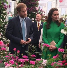 A right Royal rose garden: Prince Harry and the Duchess start their tour of the flower show and see vibrant fuchsia roses