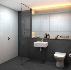 Project: Parker Residence Rosebery (under Bathroom design  Scheme 1: Sleek and Grey Computer generated image