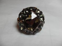 Bold Copper rhinestone ring, Copper Color adjustable about size 7, Clear and Amber rhinestone, vintage jewelry, Cosplay, Gingerslittlegems by GingersLittleGems on Etsy