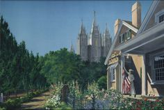 """""""Our Legacy"""" presents a view of the Beehive House looking west, with the former Church Historian's office in the foreground. This piece derives its name from the legacy of womanhood, patriotism, and pioneer sacrifice shared by the early settlers of the Salt Lake Valley. Utah Temples, Lds Temples, Follow The Prophet, Church History, Our Legacy, Latter Day Saints, Salt Lake City, Historian, Art Images"""