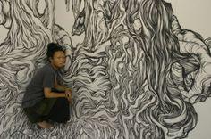 Yosuke Goda y sus murales. Gentileza Rhuven.