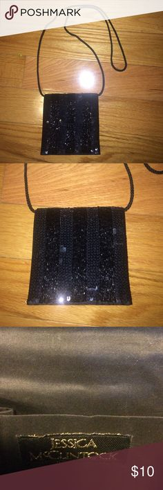 Jessica McClintock Black Sequin Evening Bag NWOT Jessica McClintock Black Sequin Evening Bag! Can carry as clutch or over the shoulder. Jessica McClintock Bags Clutches & Wristlets