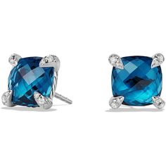 David Yurman Chatelaine Earrings with Hampton Blue Topaz and Diamonds ($900) ❤ liked on Polyvore featuring jewelry, earrings, david yurman, blue topaz diamond earrings, david yurman earrings, diamond jewelry and diamond earring jewelry