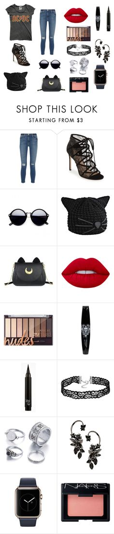 """ACDC"" by cecileestee ❤ liked on Polyvore featuring Frame Denim, Pour La Victoire, Karl Lagerfeld, Usagi, Lime Crime, Roberto Cavalli and NARS Cosmetics"