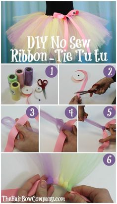 DIY No Sew Pastel Ribbon Tie Tutu. (Website sells tulle and ribbon at a great price too!)