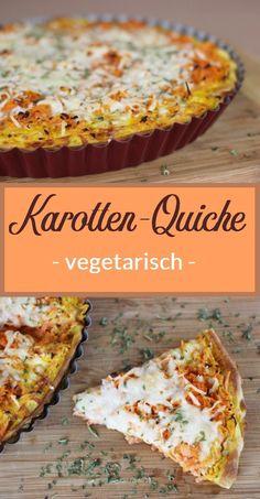 Rezept: Leckere Quiche mit Karotten und Käse. Das Gericht ist gesund und noch dazu vegetarisch.