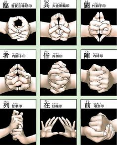 "The ninja are often associated with a type of energy meditation known as ""kuji kiri"" or the nine hand seals, which are… by rulesofthemind Martial Arts Workout, Martial Arts Training, Boxing Workout, Martial Arts Techniques, Art Techniques, Aikido, Art Bouddhique, Karate Do, Ninja Kunst"