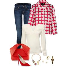 Red and white polka dots for spring! 286 by adgubbe on Polyvore featuring polyvore, fashion, style, Love Moschino, True Religion, Jimmy Choo, J.W. Anderson, Aurélie Bidermann and Decree