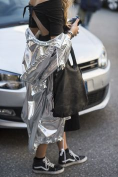 Metallic silver parka.. Really cool combined with black. As seen at Milan Fashion Week, Day 3