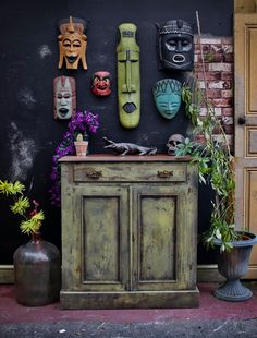 Rustic cupboard painted in Annie Sloan English yellow honfleur graphite African Masks, Yellow Painting, Annie Sloan, Graphite, Cupboard, English, Rustic, Home Decor, Graffiti