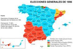 Resultado de las elecciones generales de España de 1996 por provincias.