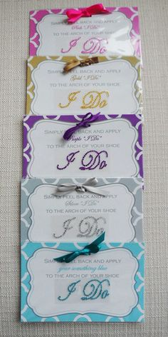 "crystal ""I Do"" stickers for bottom of wedding shoes!"