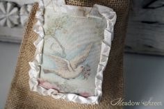 Small Burlap Bag-Dove