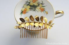 German Antique Style Leaf Hair Accessory Gold Leaf Wedding