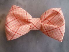 coral  ties   Boy's Coral Pink Plaid Bow tie clip on by DivineDomestication