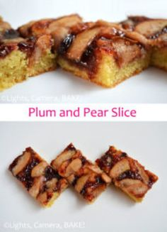 This Plum and Pear Slice uses a alomond shortbread base topped with black doris plum jam and sliced fresh or tinned pears! This is a gorgeous morning or afternoon tea! Click the photo for the . Plum Recipes, Almond Recipes, Baking Recipes, Healthy Recipes, Easy Dinner Recipes, Dessert Recipes, Easy Meals, Fruit Dessert, Base Foods