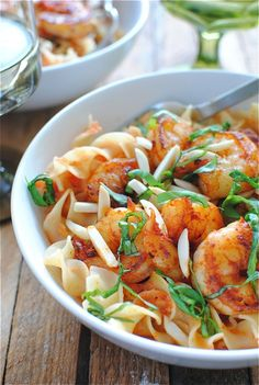 Paprika Shrimp Over Creamy Egg Noodles- not for me since I am allergic to shrimp but for someone I know.  They would love this simple recipe,